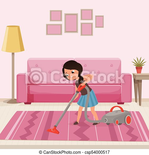 Cheerful teen girl cleaning carpet with vacuum cleaner at... vector ...
