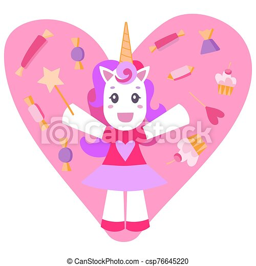 Cheerful unicorn on a pink background with sweets. - csp76645220
