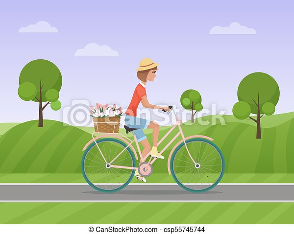 Cheerful woman with flowers in the basket riding a bike on a park road. Vector illustration. - csp55745744