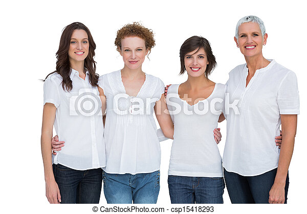 Cheerful women posing with white tops - csp15418293