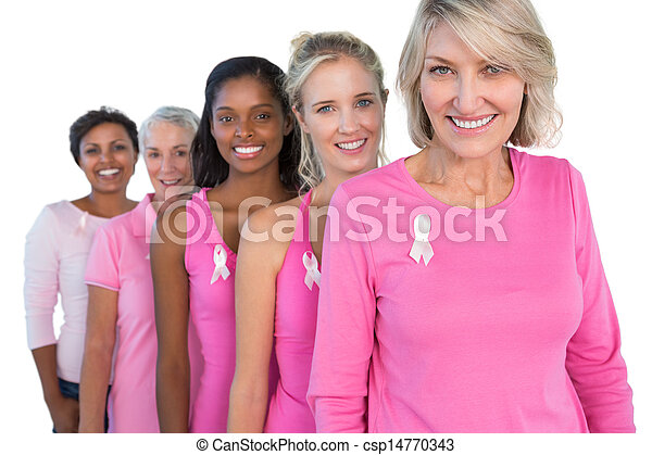Cheerful women wearing pink and ribbons for breast cancer - csp14770343
