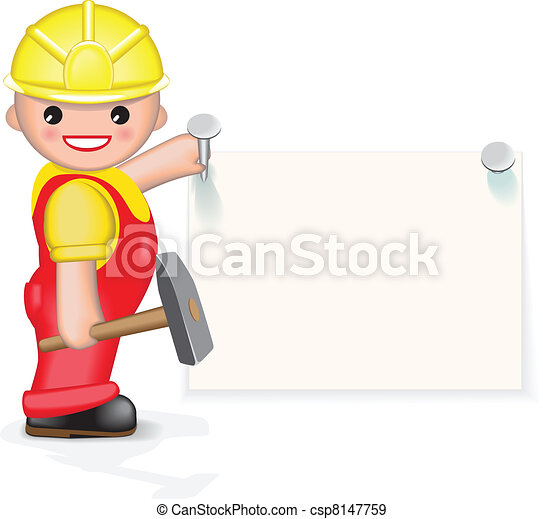 Cheerful worker is nailing paper - csp8147759