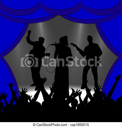 cheering silhouettes in front of band - csp1855015