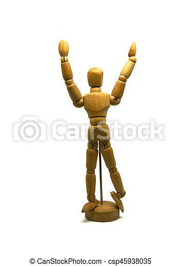 cheering wooden mannequin, puppet, isolated - csp45938035