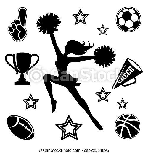 cheerleader, associer, unge, iconerne - csp22584895