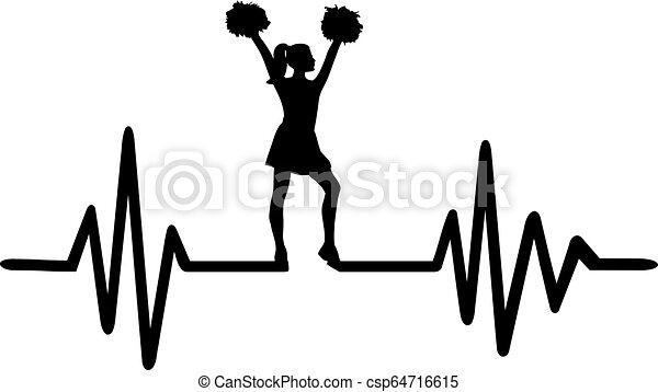 Cheerleader heartbeat line - csp64716615