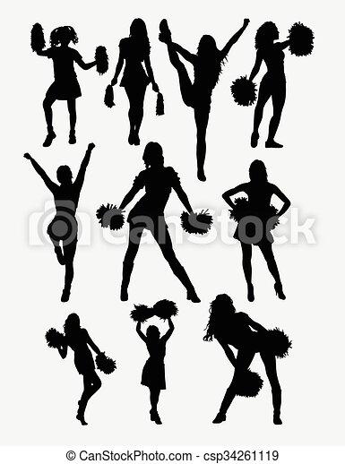 cheerleader, menina, silueta, pose - csp34261119