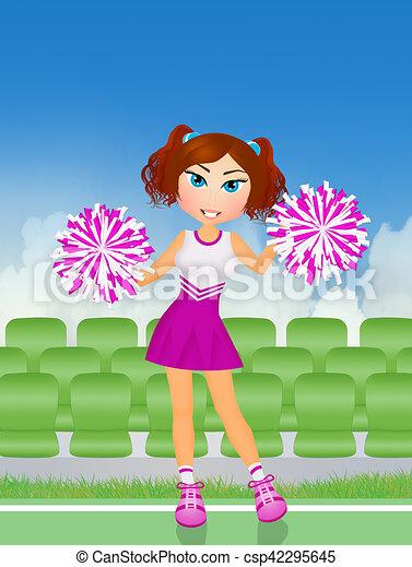 cheerleader with pom poms - csp42295645