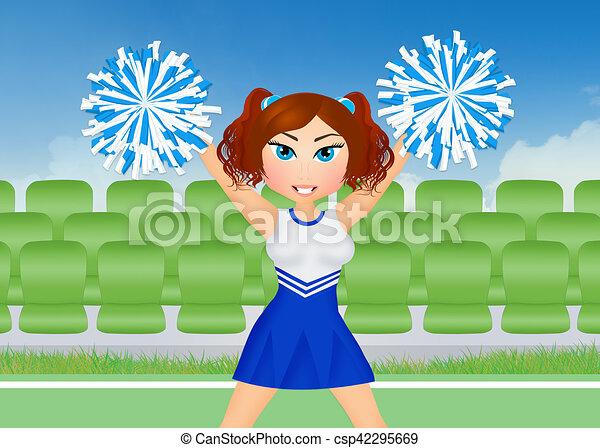 cheerleader with pom poms - csp42295669