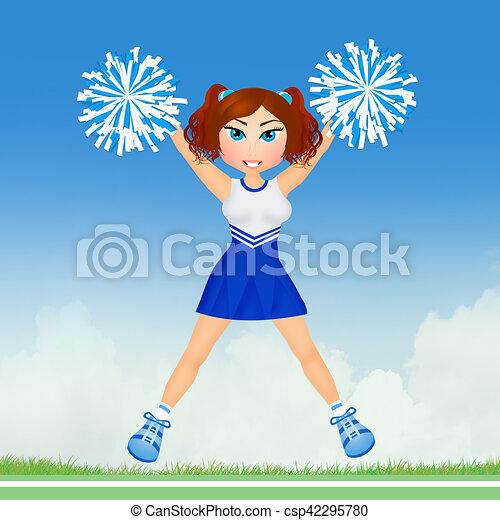 cheerleader with pom poms - csp42295780