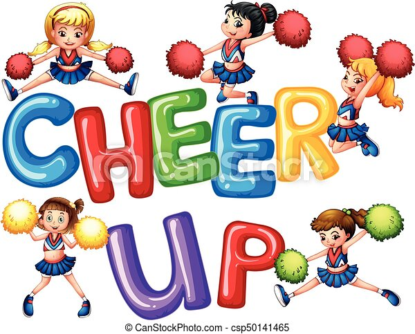 cheerleaders and word cheer up illustration rh canstockphoto com funny cheer up clipart cheer up clipart