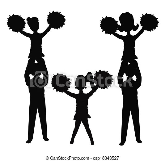 cheerleaders in silhouette vector