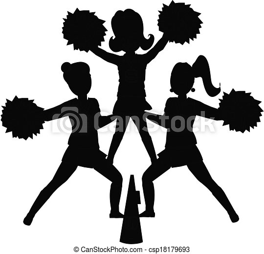 cheerleaders silhouette cheerleaders in outline