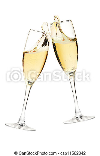 cheers two champagne glasses isolated on white