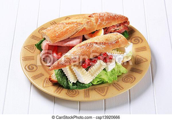 Cheese and ham sub sandwiches - csp13920666