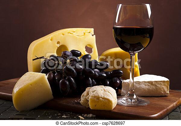 Cheese and wine  - csp7628697