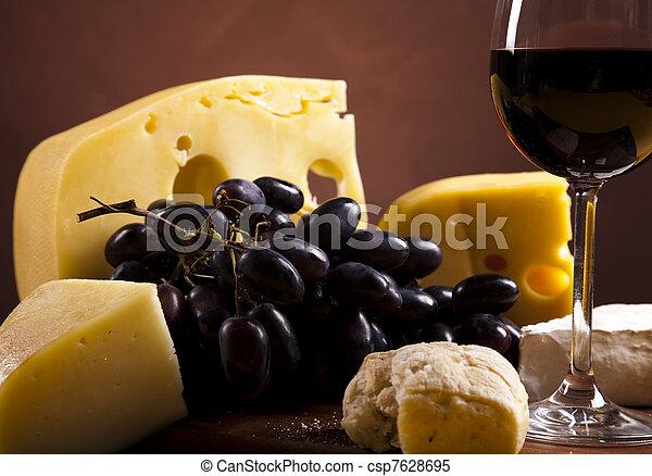 Cheese and wine  - csp7628695