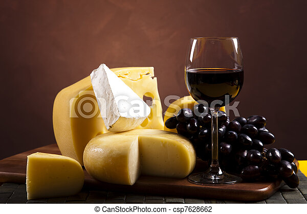 Cheese and wine  - csp7628662