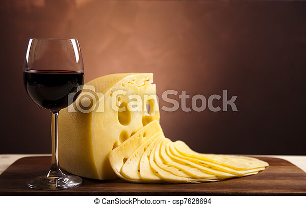 Cheese and wine  - csp7628694