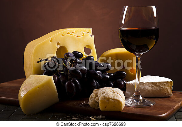 Cheese and wine  - csp7628693