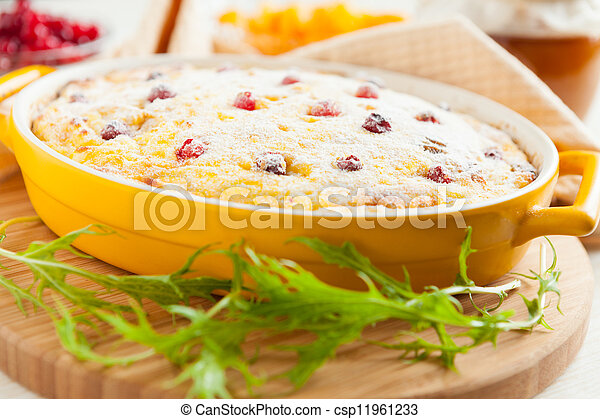 Cheese gratin with cranberries and raisins - csp11961233