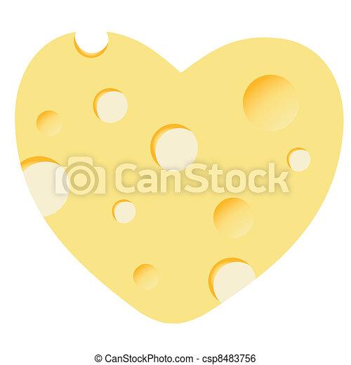 Cheese heart vector illustration - csp8483756