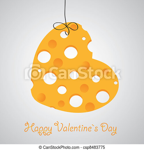 Cheese heart vector illustration - csp8483775