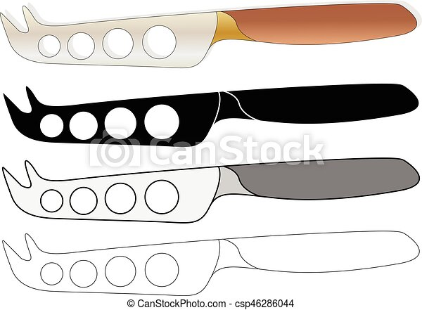 cheese knife isolated on white background - csp46286044