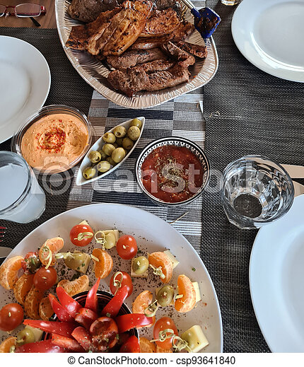 Cheese plate served with Grilled meat - csp93641840