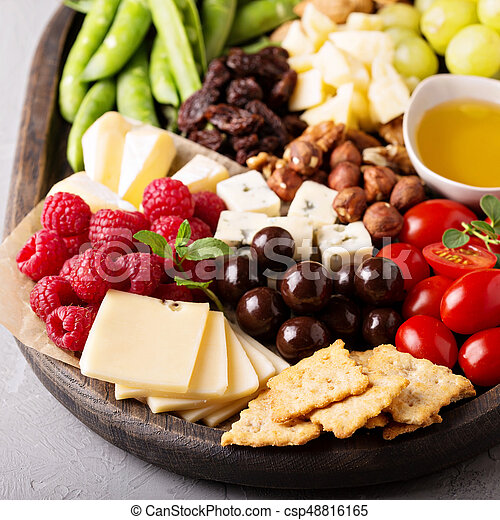 Cheese plate with fresh vegetables and fruits - csp48816165 & Cheese plate with fresh vegetables and fruits. Cheese plate... stock ...