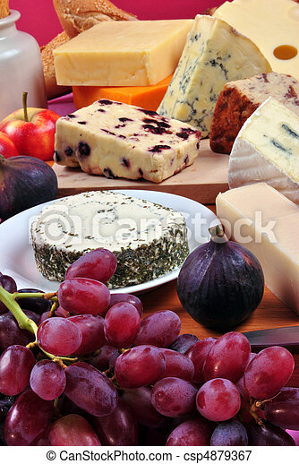 cheese platter with some organic fresh cheese - csp4879367