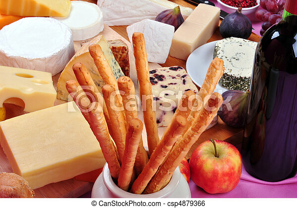 cheese platter with some organic fresh cheese - csp4879366