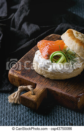 Cheese scones with salmon - csp43750086