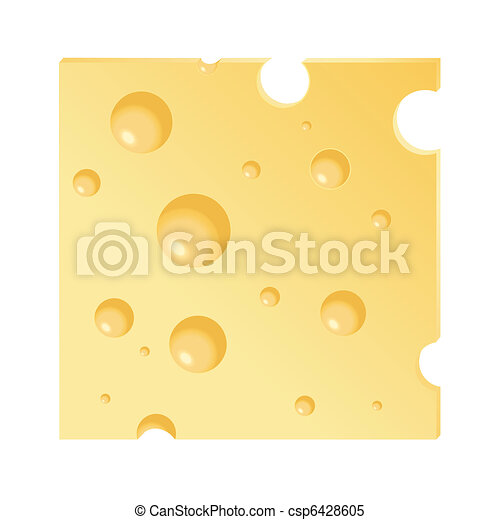 a vector illustration of a cheese slice isolated on white clipart rh canstockphoto com Swiss Cheese Slice Clip Art sliced cheese clip art