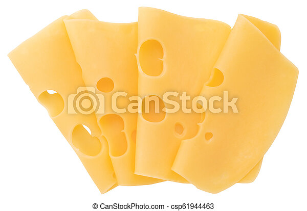 cheese slices isolated on white background, top view - csp61944463