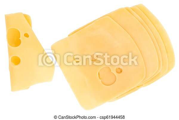 cheese slices isolated on white background, top view - csp61944458