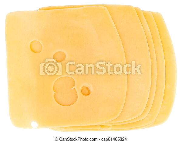 cheese slices isolated on white background, top view - csp61465324