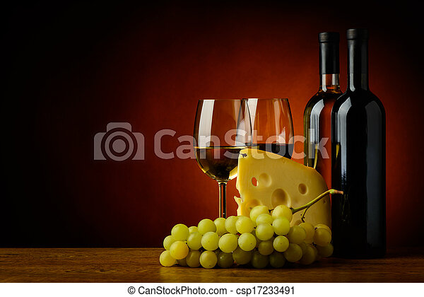 cheese, wine and grapes - csp17233491