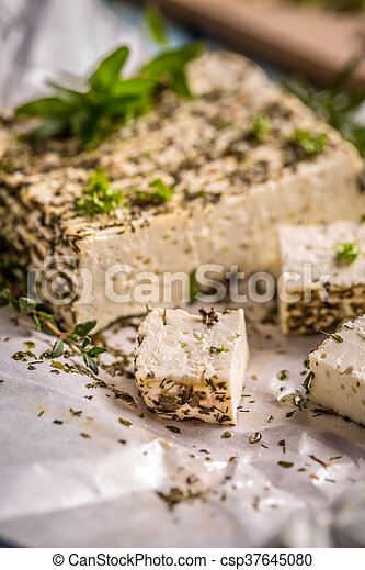 Cheese with fresh herbs - csp37645080