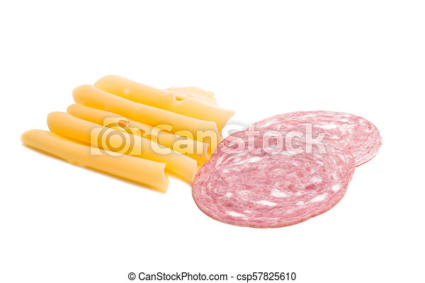 cheese with ham for sandwiches isolated - csp57825610