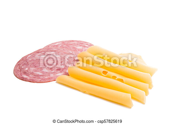 cheese with ham for sandwiches isolated - csp57825619