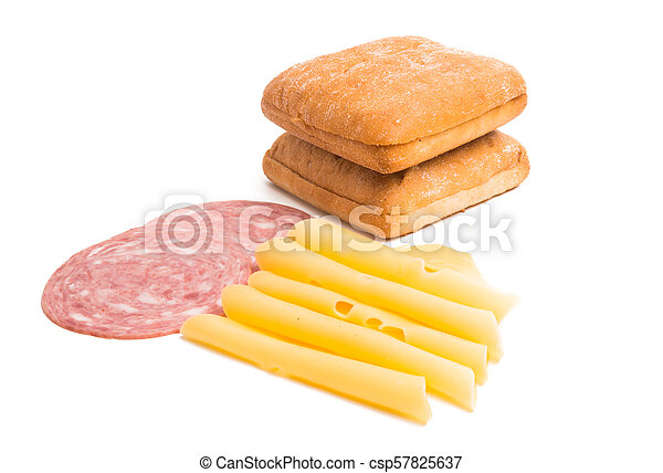 cheese with ham for sandwiches isolated - csp57825637