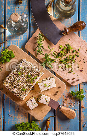 Cheese with herbs - csp37645085