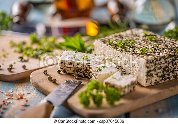 Cheese with herbs - csp37645086