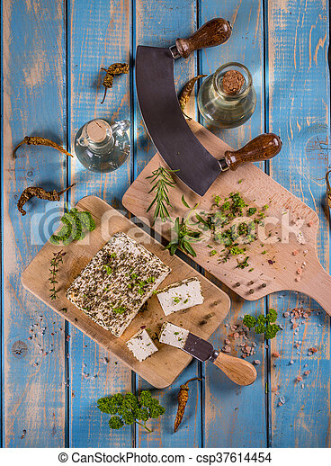 Cheese with herbs - csp37614454