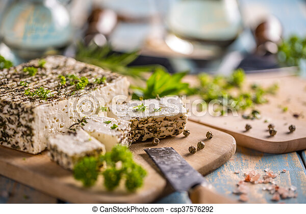 Cheese with herbs - csp37576292