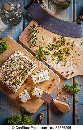 Cheese with herbs - csp37576296