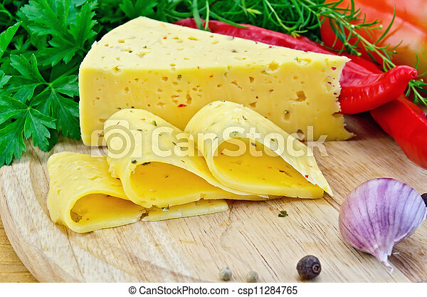 Cheese with spices and herbs - csp11284765