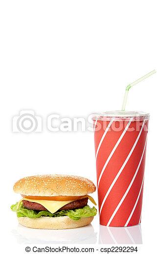 Cheeseburger and soda drink - csp2292294