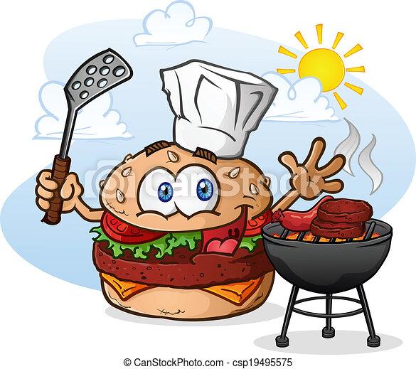 Cheeseburger Cartoon Chef Grilling - csp19495575
